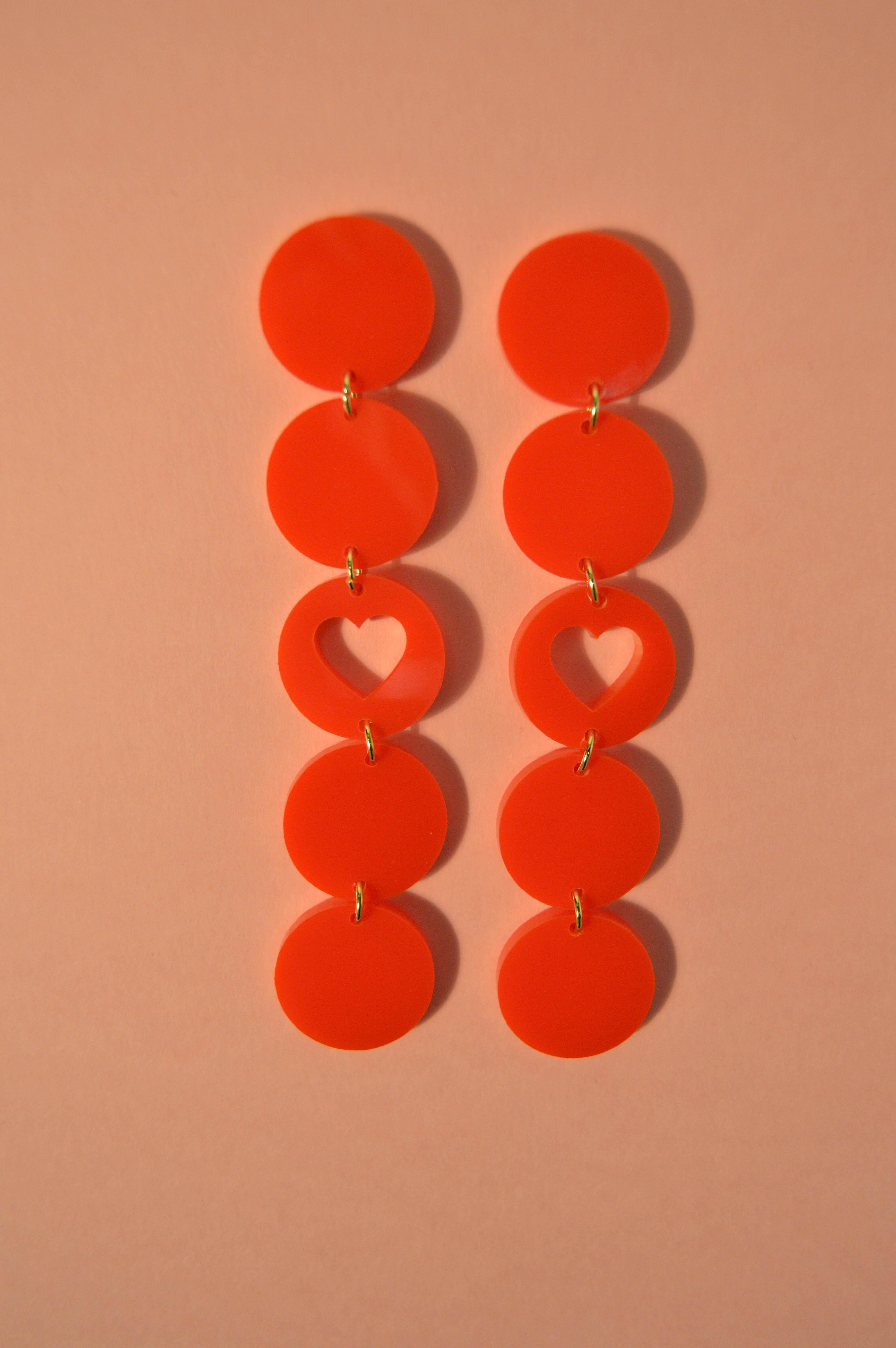 Boucles d'oreilles Paulette Coeur Rouge - KITX Laboratoire d'excentricité
