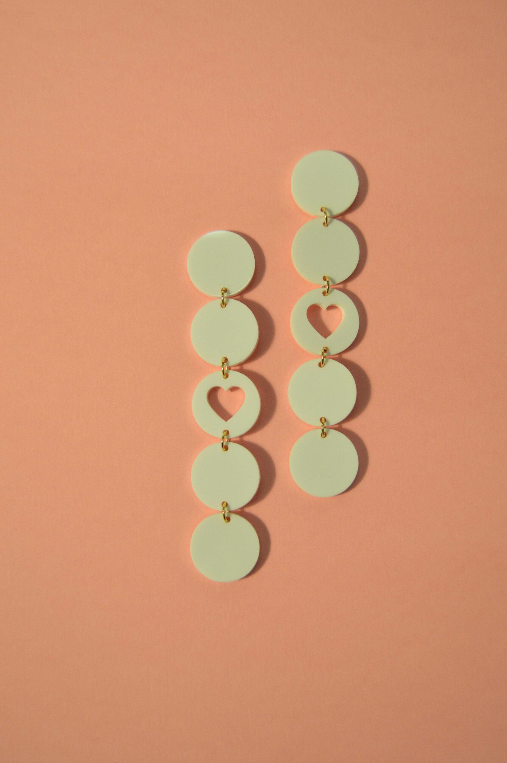 Boucles d'oreilles Paulette Coeur Blanche - KITX Laboratoire d'excentricité