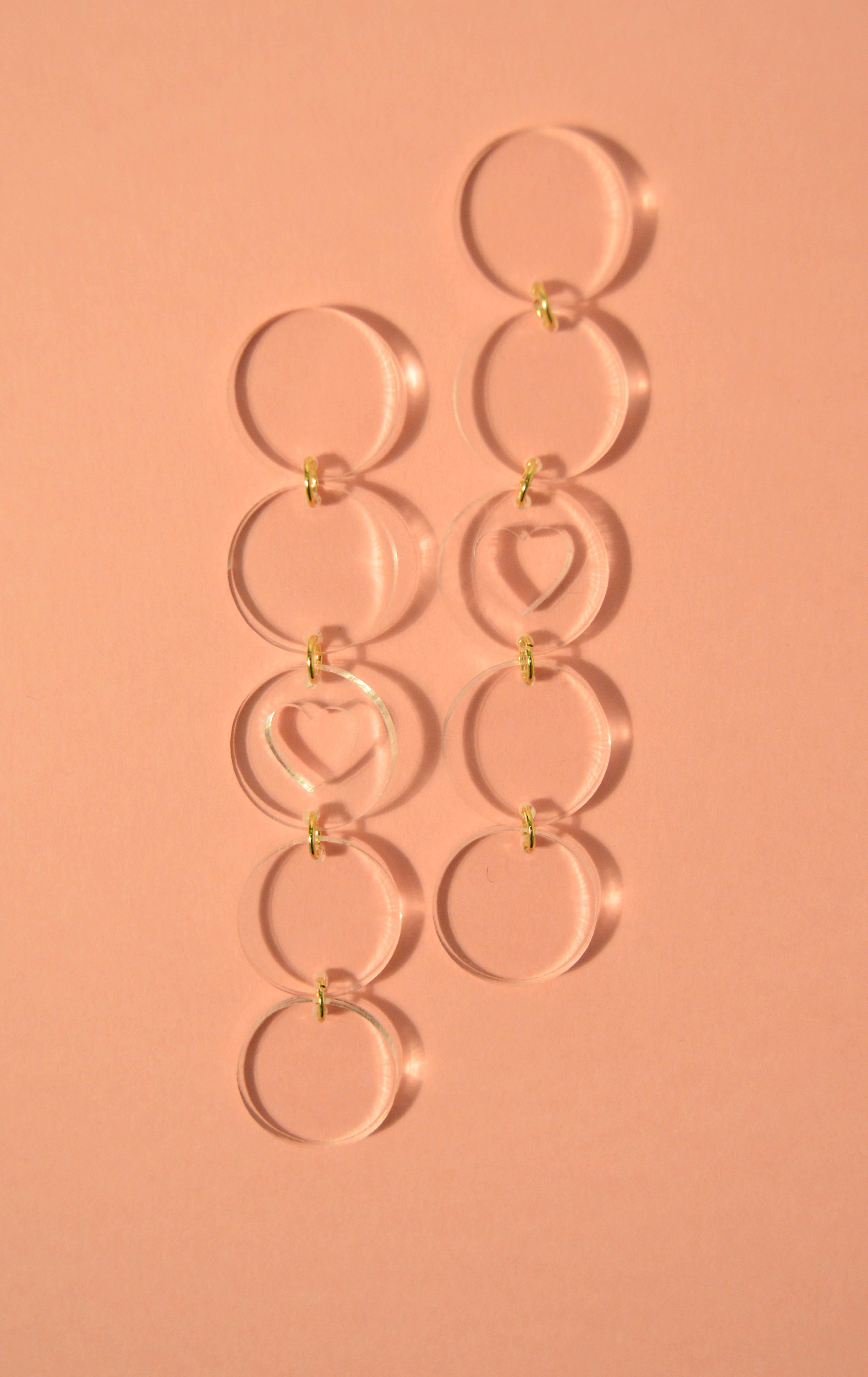 Boucles d'oreilles Paulette Coeur Transparent - KITX Laboratoire d'excentricité