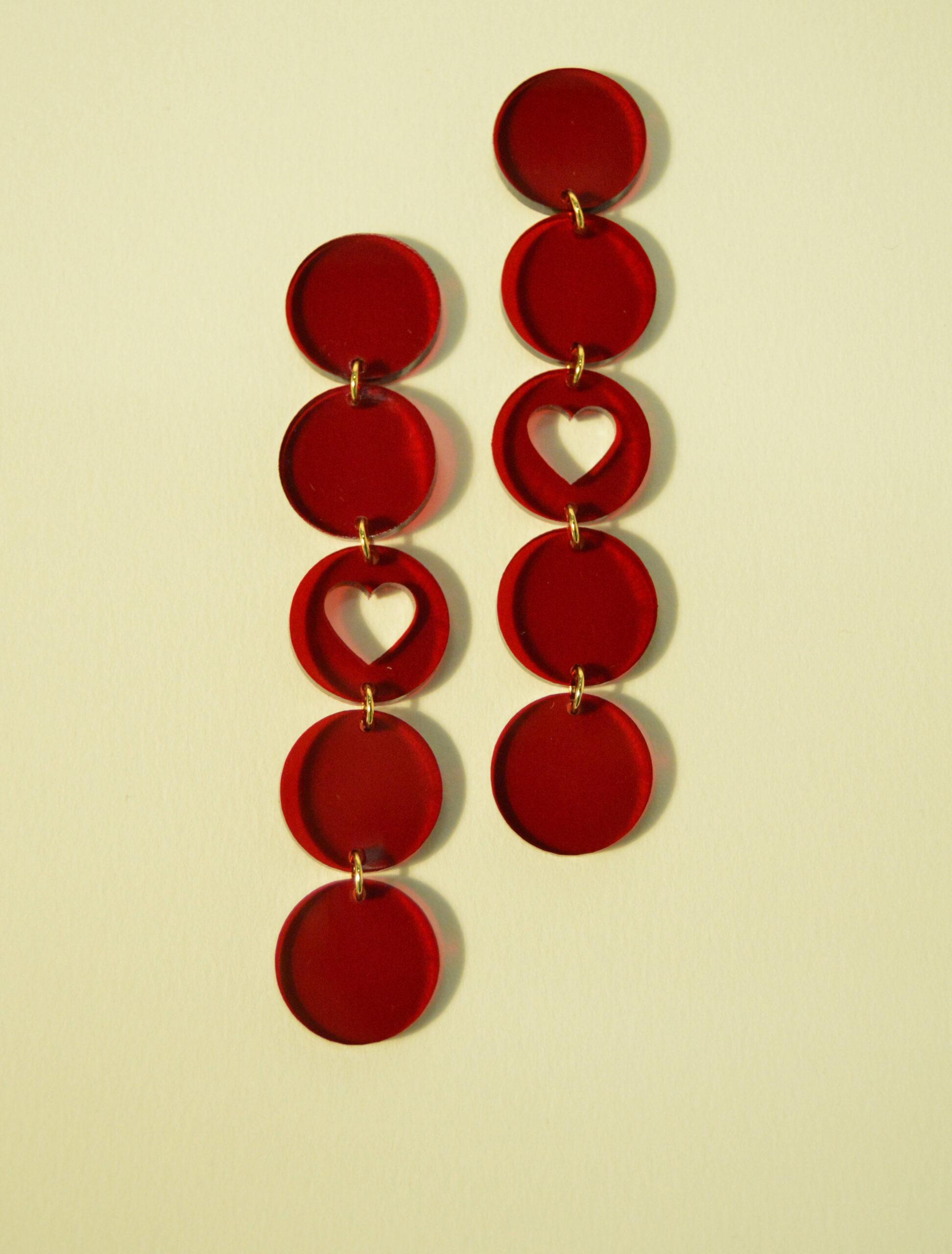 Boucles d'oreilles Paulette Coeur Rouge Transparent - KITX Laboratoire d'excentricité