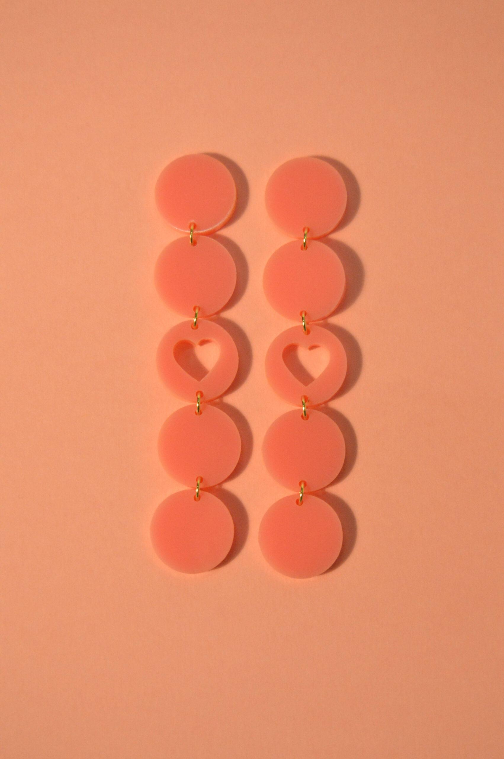 Boucles d'oreilles Paulette Coeur Rose - KITX Laboratoire d'excentricité